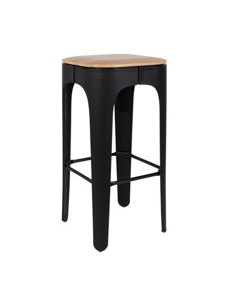 Taburete de bar Up-High, Asiento: madera de fresno maciza, Patas: polipropileno, mate pinta, Asiento: fresno Patas: negro Reposapiés: negro, An 35 x Al 73 cm