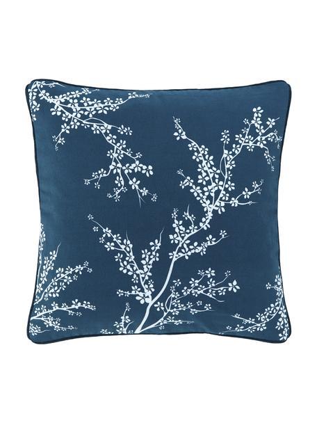 Kissenhülle Jada mit Keder und Blumenmotiv, 100% Baumwolle, Blau, 40 x 40 cm