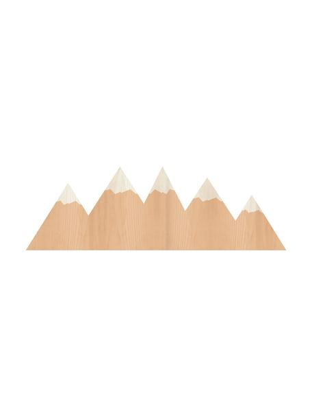 Aplique LED Mountains, con enchufe, Lámpara: madera contrachapada, rec, Cable: cubierto en tela, Marrón, crema, An 50 x Al 16 cm