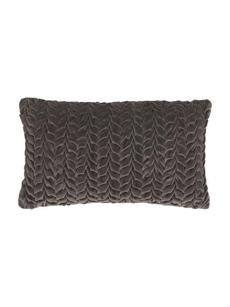 Samt-Kissen Smock in Dunkelgrau mit geraffter Oberfläche, mit Inlett, Bezug: 100% Baumwollsamt, Grau, 30 x 50 cm