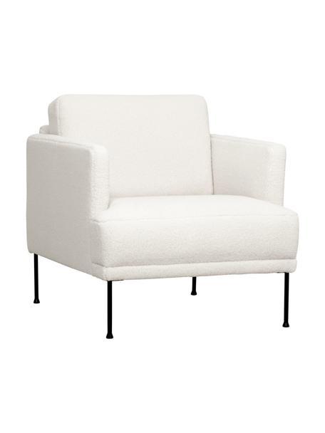 Teddy fauteuil Fluente, Bekleding: 100% polyester (Teddyfell, Frame: massief grenenhout, Poten: gepoedercoat metaal, Crèmewit, B 74 x D 85 cm