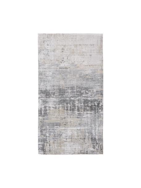 Design vloerkleed Streaks in grijs, Bovenzijde: 85%katoen, 15%hoogglanz, Weeftechniek: jacquard, Onderzijde: katoenmix, gecoat met lat, Grijstinten, B 80 x L 150 cm (maat XS)