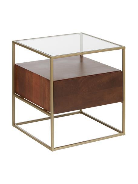 Stolik pomocniczy z szufladą Theodor, Blat: szkło, Stelaż: metal malowany proszkowo, Transparentny, drewno mangowe, odcienie złotego, S 50 x W 50 cm