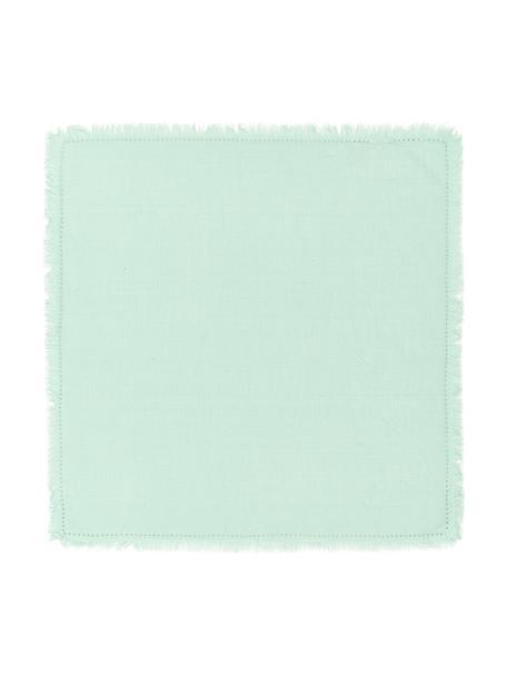 Tovagliolo di stoffa con frange Hilma 2 pz, 100% cotone, Verde menta, Larg. 45 x Lung. 45 cm