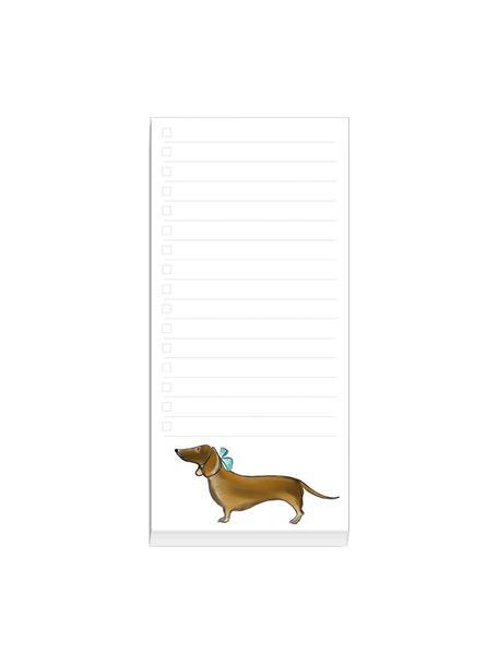 Notizblock Dackel, Papier, 120 g/m², Weiß, Mehrfarbig, 10 x 21 cm