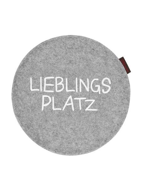 Runde Filz-Sitzauflagen Avaro mit Schriftzug, 2 Stück, Grau, Ø 35 x H 1 cm