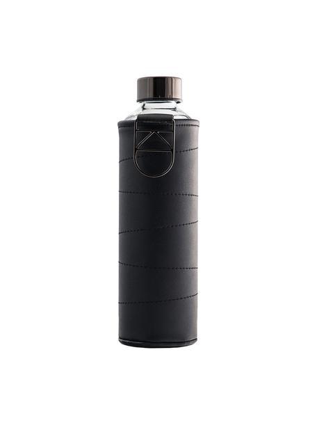 Botella Mismatch, Botella: vidrio borosilicato, Funda: cuero sintético, Negro, transparente, Ø 8 x Al 26 cm