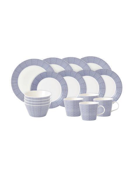 Porseleinen serviesset Pacific met patroon, 4 personen (16-delig), Porselein, Wit, blauw, Set met verschillende formaten