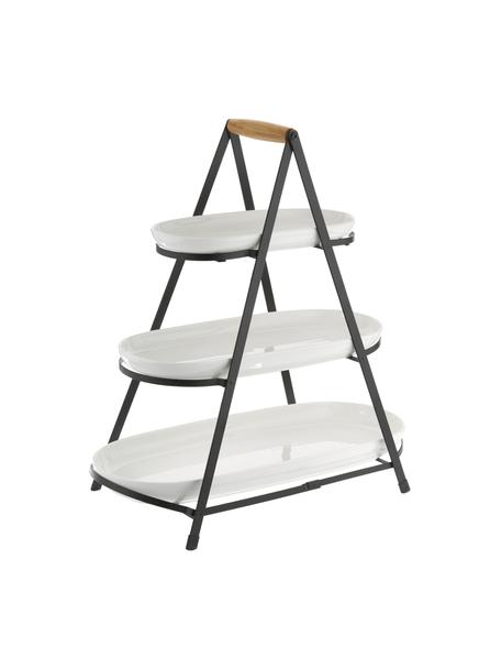 Etagere Tower mit abnehmbaren Ablageflächen, Gestell: Metall, Griff: Holz, Weiss, Schwarz, Holz, 50 x 55 cm