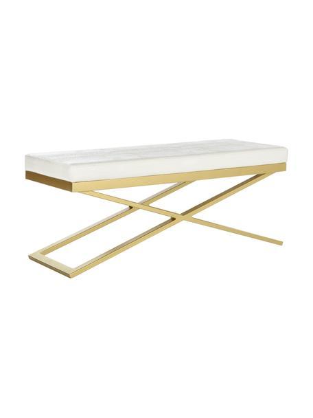 Kunstleren zitbank Susan, Frame: gelakt staal, Bekleding: kunstleer (polyurethaan) , Wit, goudkleurig, 109 x 46 cm