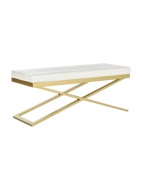 Kunstleder-Sitzbank Susan, Gestell: Stahl, lackiert, Bezug: Kunstleder (Polyurethan) , Weiss, Goldfarben, 109 x 46 cm