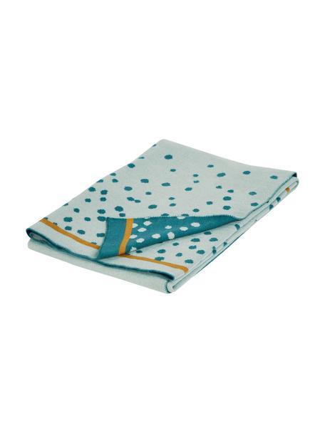 Coperta lavorata a maglia Happy Dots, Blu, Larg. 80 x Lung. 100 cm