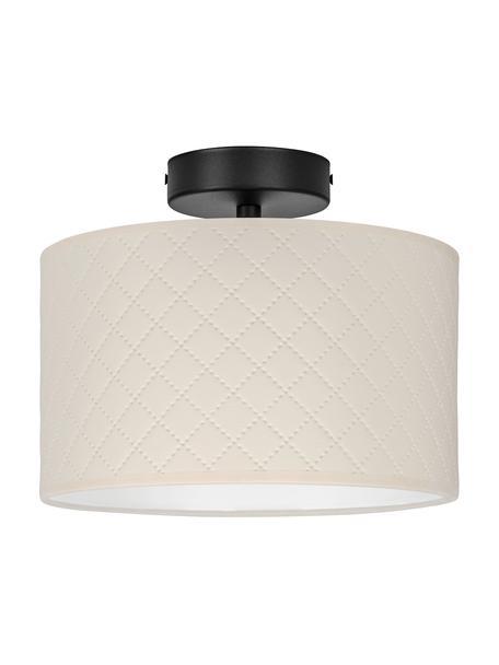 Plafondlamp Trece van kunstleer, Lampenkap: kunstleer, Baldakijn: gepoedercoat metaal, Crèmekleurig, zwart, Ø 25 x H 20 cm