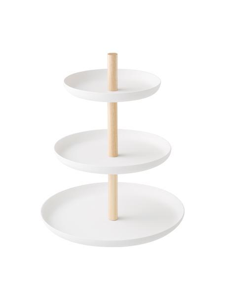 Etagere Tosca, Ø 20 cm, Stange: Holz, Weiß, Braun, 20 x 24 cm