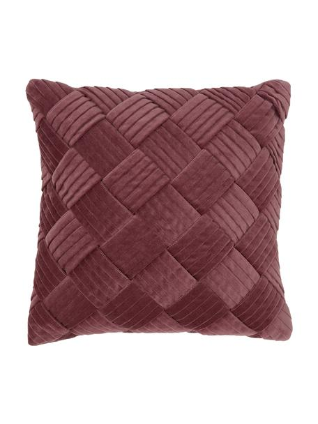 Fluwelen kussenhoes Sina in oudroze met structuurpatroon, Fluweel (100% katoen), Roze, 45 x 45 cm