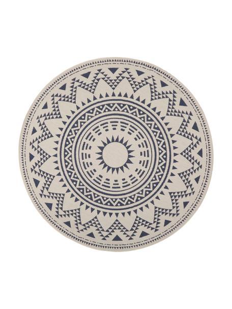Alfombra redonda de interior/exterior Arre, estilo étnico, Polipropileno, Blanco, azul, Ø 200 cm (Tamaño L)