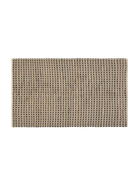 Fussmatte Fiesta aus Baumwolle/Jute, 55% Chindi Baumwolle, 45% Jute, Schwarz, Beige, 45 x 75 cm