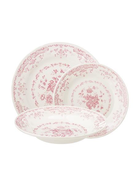 Vajilla clásica Rose, 6comensales (18pzas.), Cerámica, Blanco, rosa, Set de diferentes tamaños