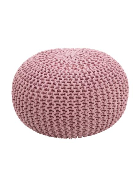 Ręcznie wykonany puf z dzianiny Dori, Tapicerka: 100% bawełna, Blady różowy, Ø 55 x W 35 cm