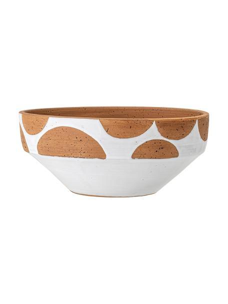 Handgefertigte Dekoschale Hakan, Terracotta, Weiß, Braun, Ø 32 cm