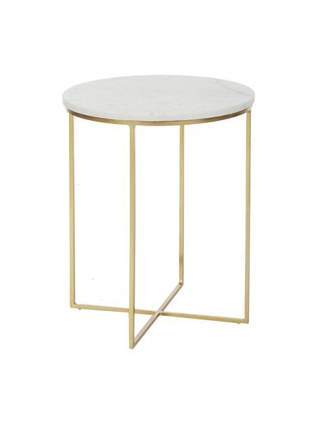 Mesa auxiliar de mármol redonda Alys, Tablero: mármol natural, Estructura: metal con pintura en polv, Blanco veteado, dorado, Ø 40 x Al 50 cm