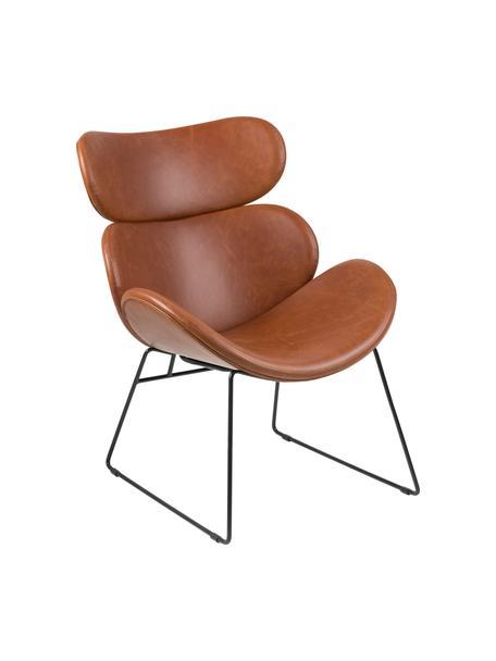 Fotel wypoczynkowy ze sztucznej skóry Cazar, Tapicerka: sztuczna skóra (poliureta, Koniakowy, czarny, S 69 x G 79 cm