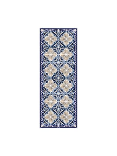Tappetino antiscivolo blu/beige in vinile Luis, Vinile riciclabile, Blu scuro, beige, Larg. 68 x Lung. 180 cm