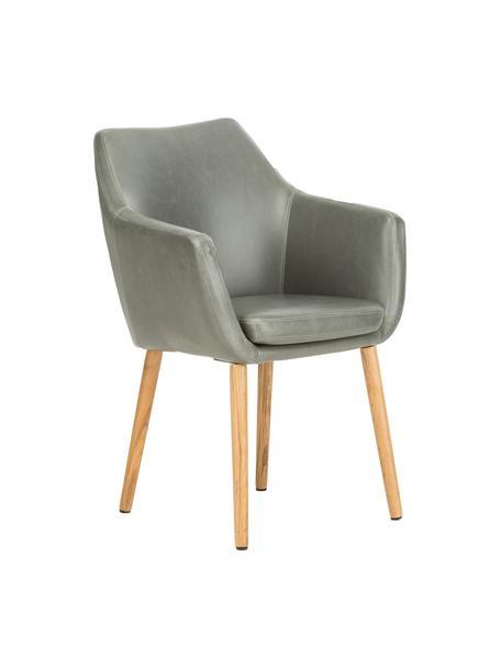 Krzesło z podłokietnikami ze sztucznej skóry Nora, Tapicerka: sztuczna skóra (poliureta, Nogi: drewno dębowe, Jasny szary, drewno dębowe, S 56 x G 55 cm