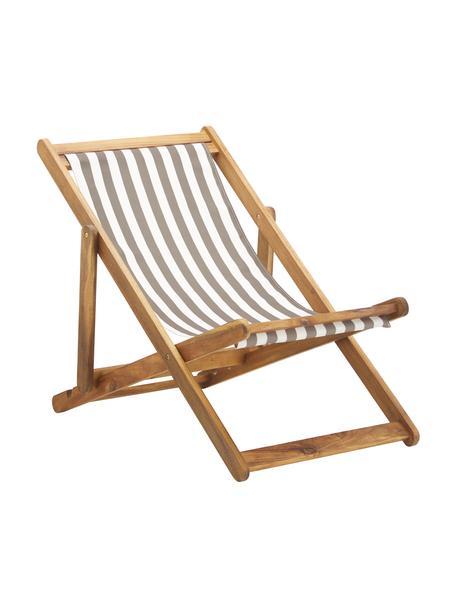 Tumbona plegable Zoe, Asiento: 100%poliéster, Estructura: madera de acacia aceitada, Beige, blanco, An 59 x F 91 cm