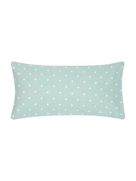 Gepunktete Baumwoll-Kissenbezüge Dotty in Grün/Weiß, 2 Stück, Webart: Renforcé Fadendichte 144 , Salbeigrün, Weiß, 40 x 80 cm