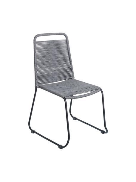 Gartenstühle Suture mit Kunststoff-Geflecht, 2 Stück, Beine: Edelstahl, lackiert, Grau, B 53 x T 53 cm