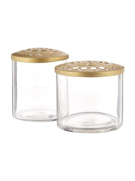 XS Vasen-Set Kastanje mit Metalldeckel, 2-tlg., Vase: Glas, Deckel: Edelstahl vermessingt, An, Vase: Transparent<br>Deckel: Messing, Set mit verschiedenen Grössen