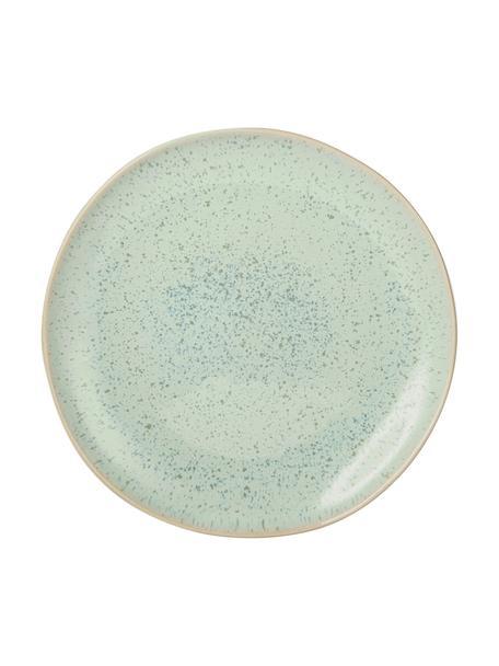 Handbemalte Frühstücksteller Areia mit reaktiver Glasur, 2 Stück, Steingut, Mint, Gebrochenes Weiß, Beige, Ø 22 cm