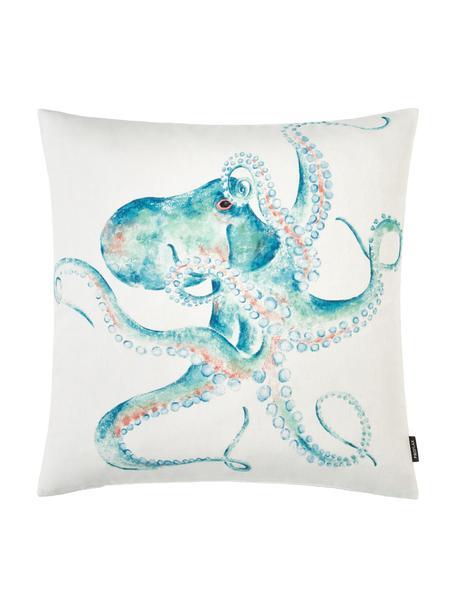Federa arredo Octopus, Cotone, Bianco, turchese, rosso, Larg. 50 x Lung. 50 cm