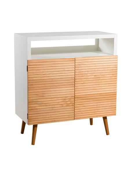 Scandi dressoir Pedro met opbergvak, Frame: gelakt MDF, Wit, grenenhoutkleurig, 80 x 89 cm