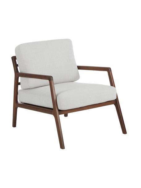 Fotel z drewna orzecha włoskiego Becky, Tapicerka: poliester Dzięki tkaninie, Tkanina beżowy, drewno orzecha włoskiego, S 73 x G 90 cm