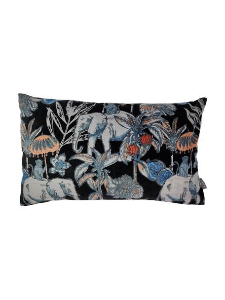 Samt-Kissen Elephant, mit Inlett, Bezug: 100% Baumwolle, Schwarz, Mehrfarbig, 30 x 50 cm