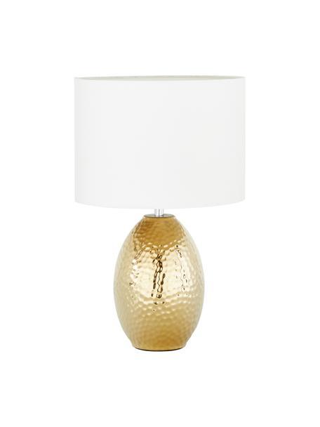 Tischlampe Eleanora in Weiss-Gold, Lampenschirm: Textil, Weiss, Goldfarben, Ø 28 x H 47 cm