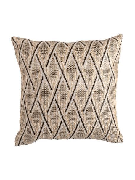 Cuscino imbottito da esterno Knitted, Retro: polipropilene, Beige, nero, Larg. 45 x Lung. 45 cm