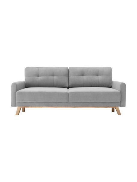 Samt-Schlafsofa Balio (3-Sitzer) in Hellgrau mit Holz-Füßen, ausklappbar, Bezug: 100% Polyestersamt, Füße: Metall, lackiert, Rahmen: Massivholz und Spanplatte, Samt Hellgrau, B 216 x T 102 cm