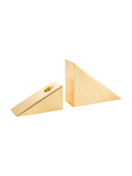 Kerzenhalter-Set Edge, 2-tlg., Rostfreier Stahl, Goldfarben, 15 x 11 cm
