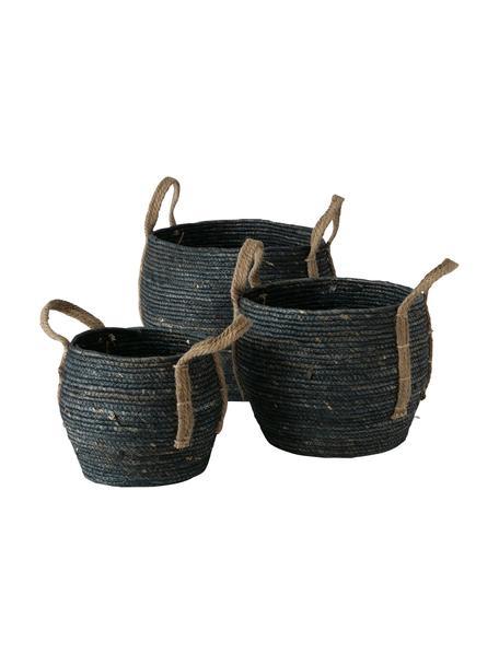 Set de cesta artesanales Takeo, 3pzas., Asas: yute, Negro, Set de diferentes tamaños
