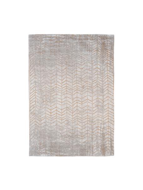 Tappeto con motivo a zigzag  J. Ladder, Tessuto: Jacquard, Retro: Miscela di cotone rivesti, Tonalità grigie, bianco latteo, dorato, Larg. 140 x Lung. 200 cm (taglia S)