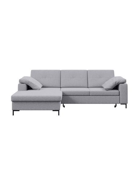 Sofa narożna z funkcją spania i ze schowkiem Moor, Tapicerka: 100% poliester z systemem, Stelaż: drewno liściaste, drewno , Nogi: drewno lakierowane Dzięki, Jasny szary, S 260 x G 162 cm
