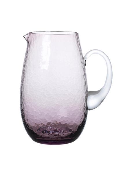 Mundgeblasener Krug Hammered, 2 L, Glas, mundgeblasen, Lila, transparent, 2 L