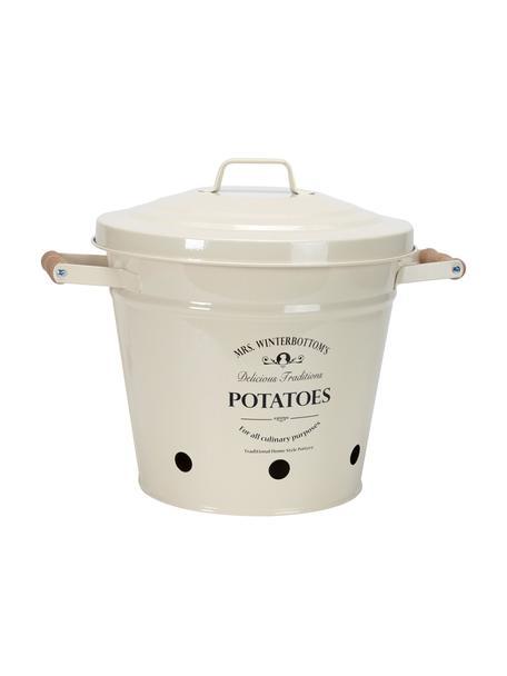 Opbergemmer Mrs. Winterbottoms Potatoes, Metaal, verzinkt en gelakt, Crèmekleurig, zwart, Ø 29 cm