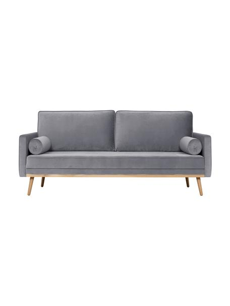 Samt-Sofa Saint (3-Sitzer) in Grau mit Eichenholz-Füsse, Bezug: Samt (Polyester) Der hoch, Gestell: Massives Eichenholz, Span, Samt Grau, B 210 x T 93 cm