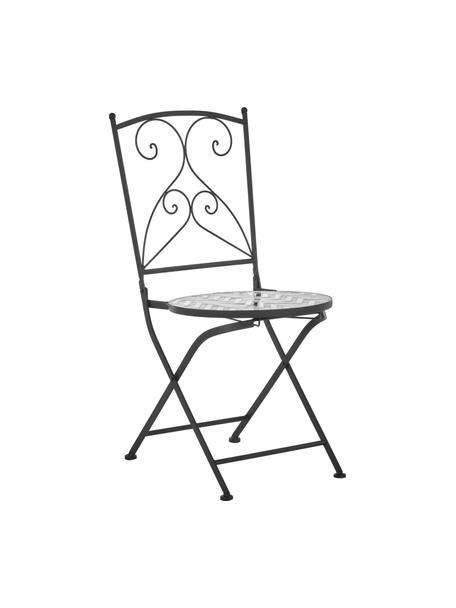 Balkonstühle Verano mit Mosaik, 2 Stück, Gestell: Metall, pulverbeschichtet, Sitzfläche: Steinmosaik, Grau, Weiß, Schwarz, B 40 x T 52 cm