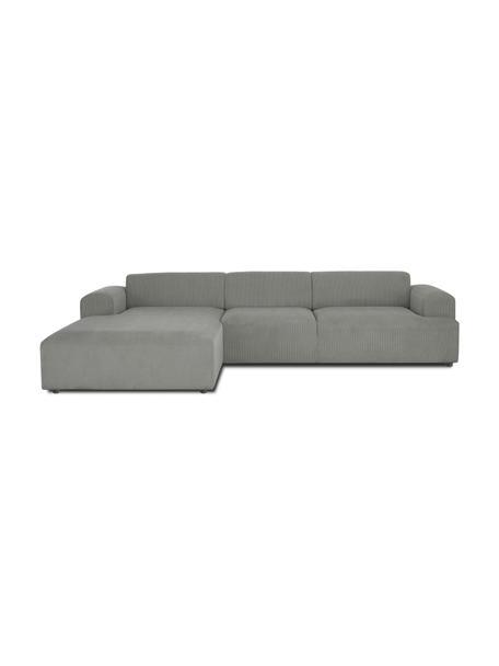 Cord-Ecksofa Melva (4-Sitzer) in Grau, Bezug: Cord (92% Polyester, 8% P, Gestell: Massives Kiefernholz, FSC, Cord Grau, B 319 x T 196 cm