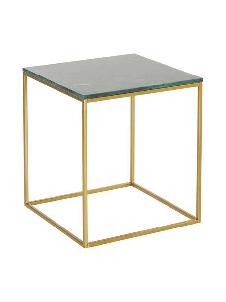 Marmeren bijzettafel Alys, Tafelblad: marmer, Frame: gecoat metaal, Tafelblad: groen marmer. Frame: goudkleurig, glanzend, 45 x 50 cm